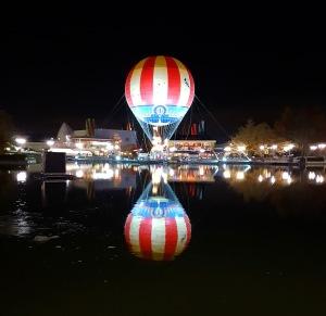 Hot air balloon reflection at Disney Village in Disneyland Paris