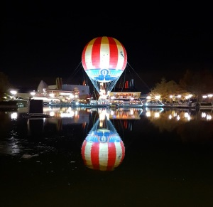 Hot air balloon reflection at Disney Village in Disneyland Paris