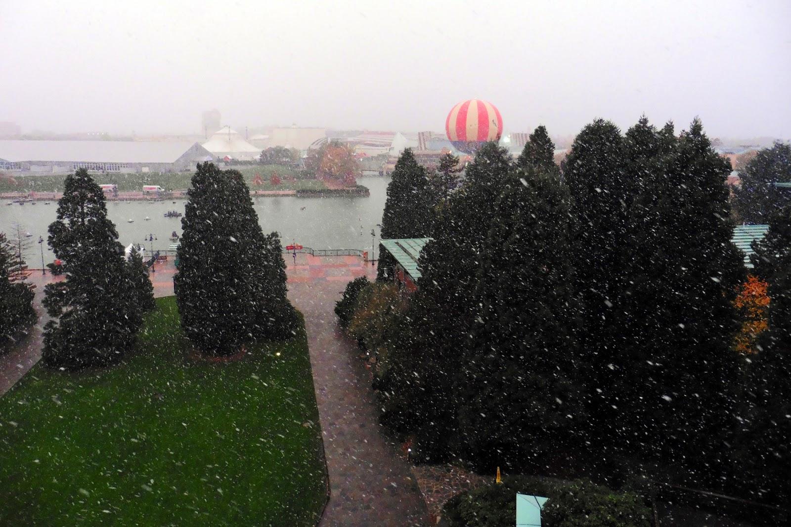 Snow flurries from Disney's Sequoia Lodge at Disneyland Paris