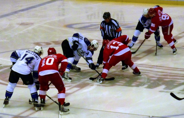 Pavel Datsyuk takes a faceoff at center ice in Joe Louis Arena