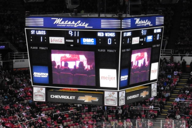 Scoreboard at Joe Louis Arena in Detroit, Michigan