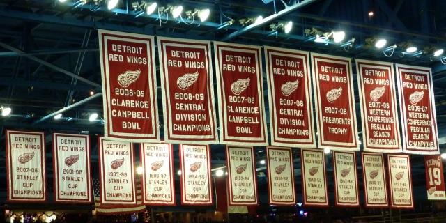 Banners at Joe Louis Arena in Detroit, Michigan