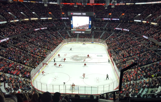 Red Wings playing at the Canadian Tire Centre in Ottawa, Canada