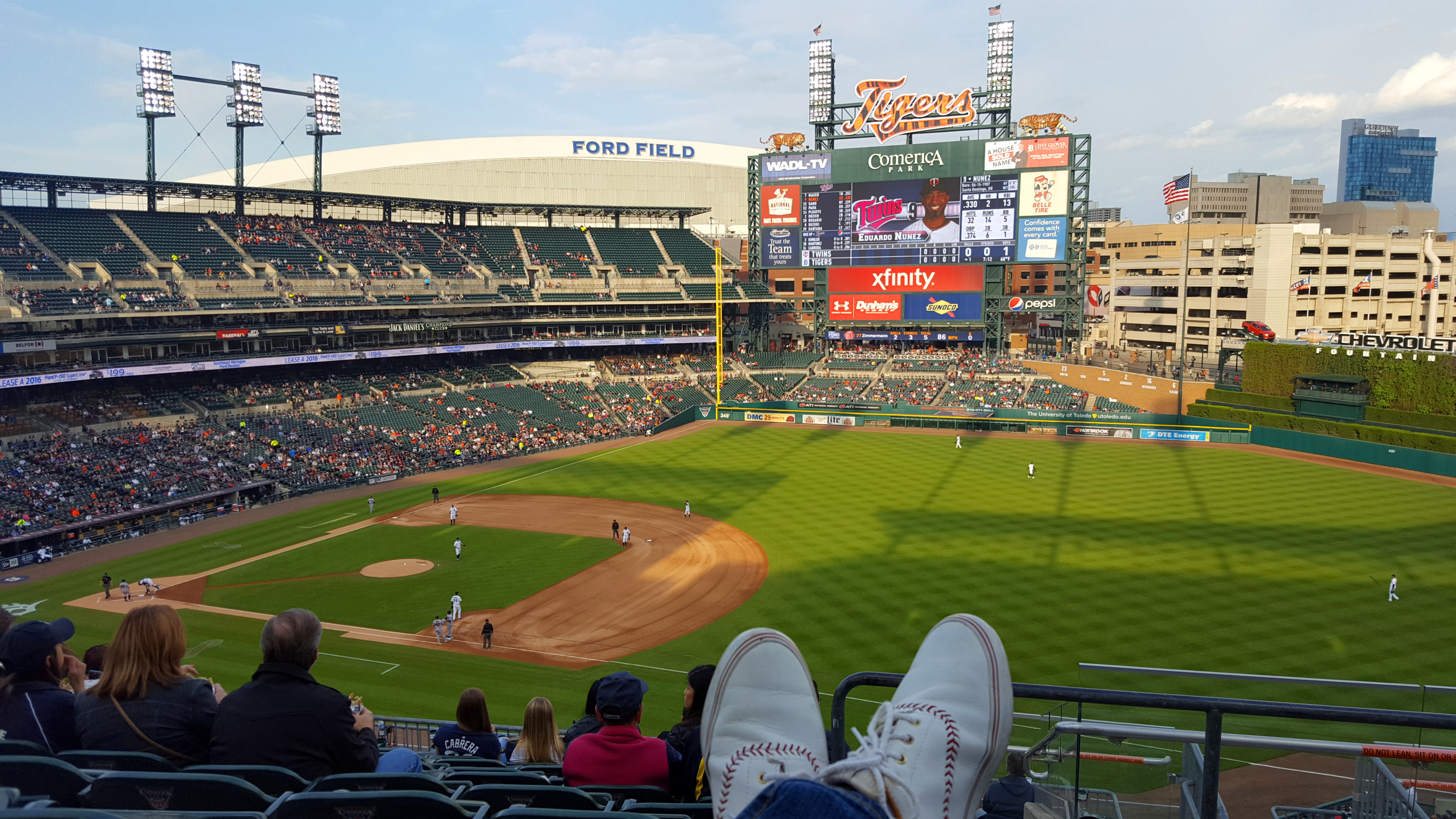Detroit Tigers game at Comerica Park - Opening Day - Spring in Detroit