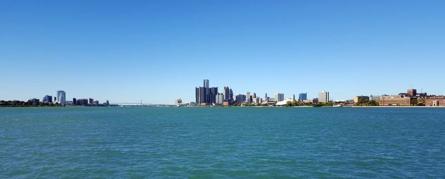 View of Detroit, Michigan and Windsor, Ontario from Belle Isle.