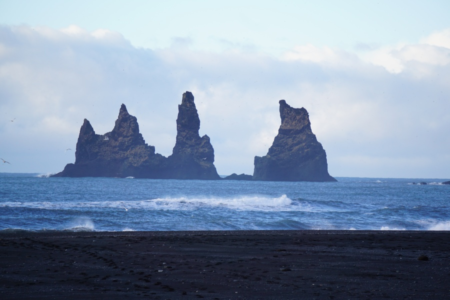 View from the black sand beach in Vik, Iceland