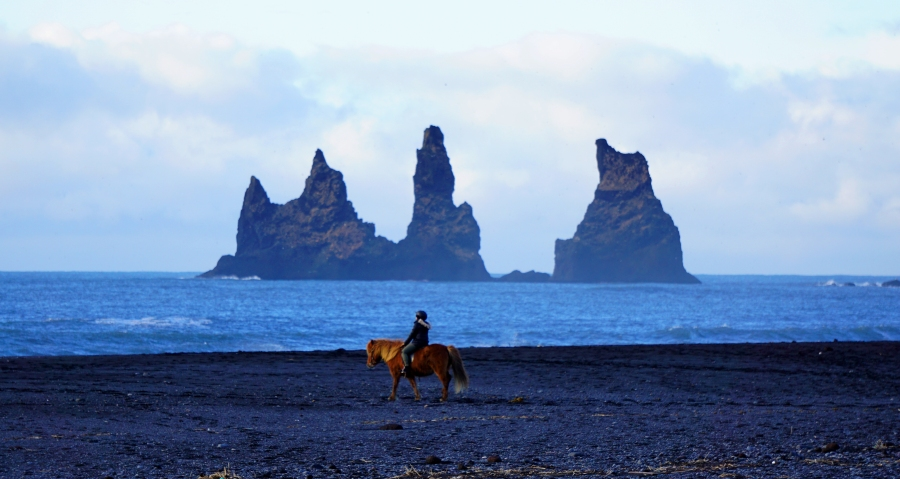 Horseback rider on a Black sand beach in Vik, Iceland
