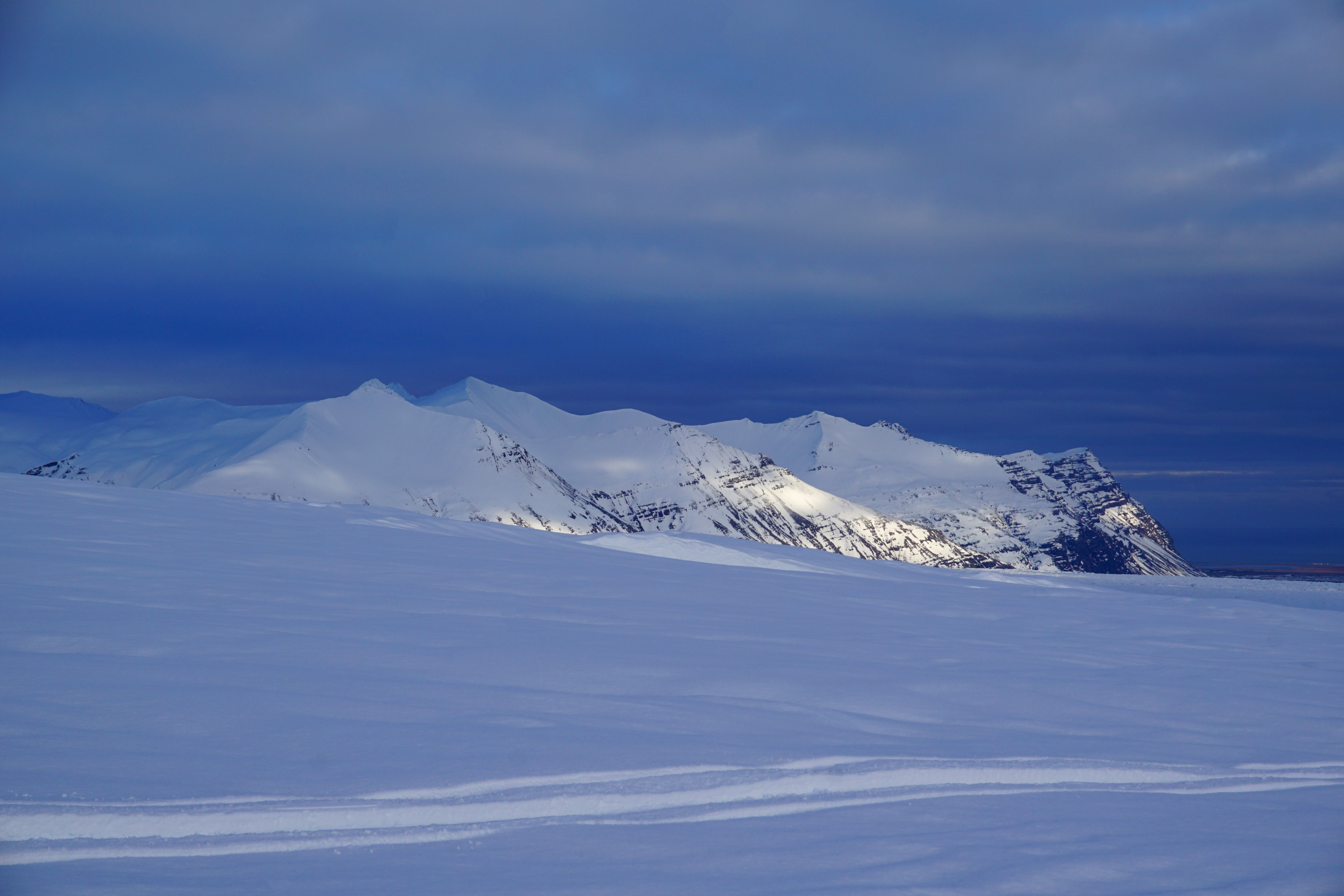 View from the top of the Vatnajökull Glacier while ice caving in Iceland