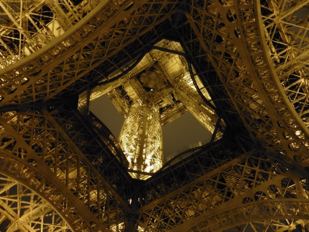 View from below the Eiffel Tower in Paris, France