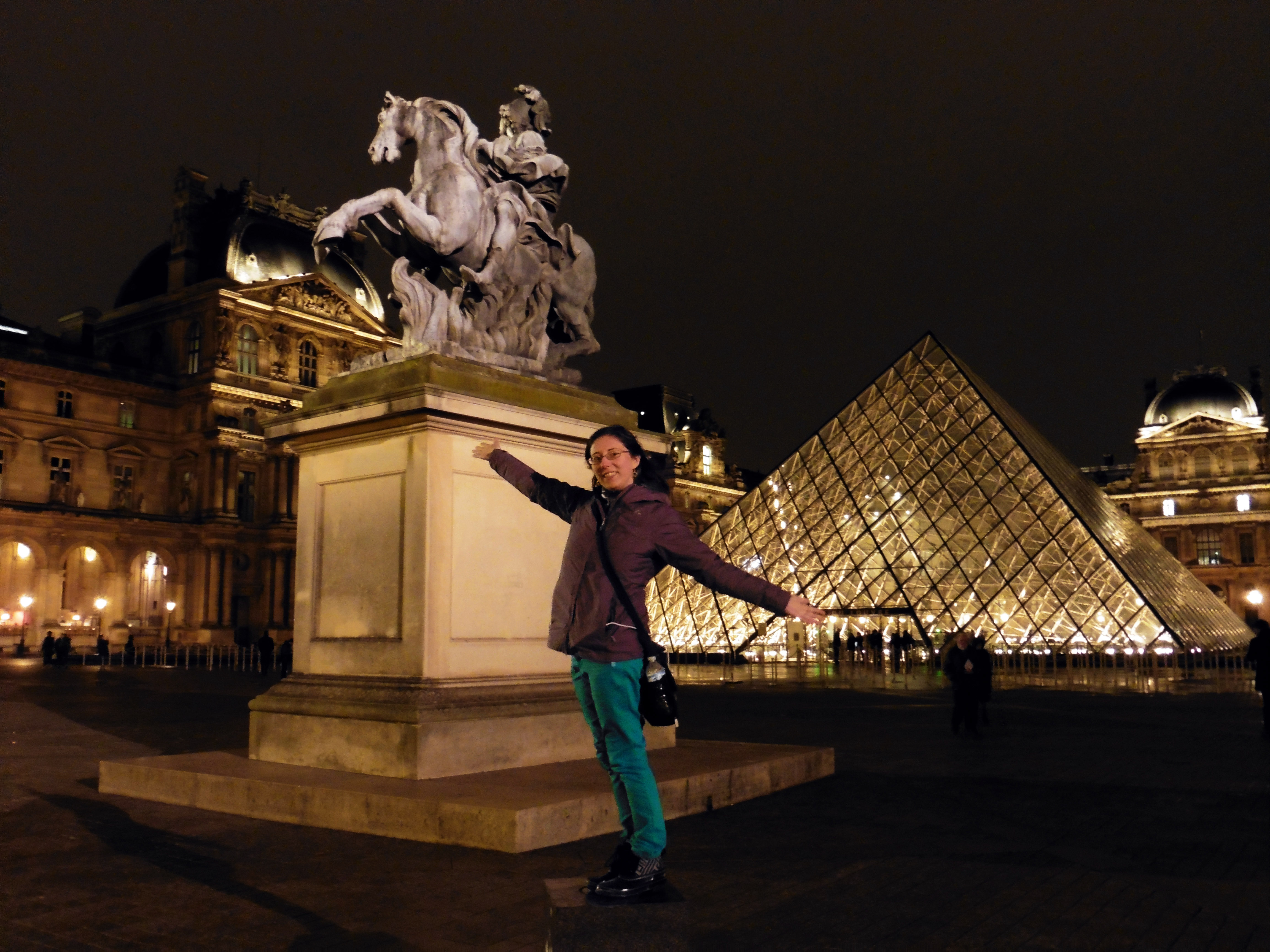 Night time at the Louvre Museum in Paris, France