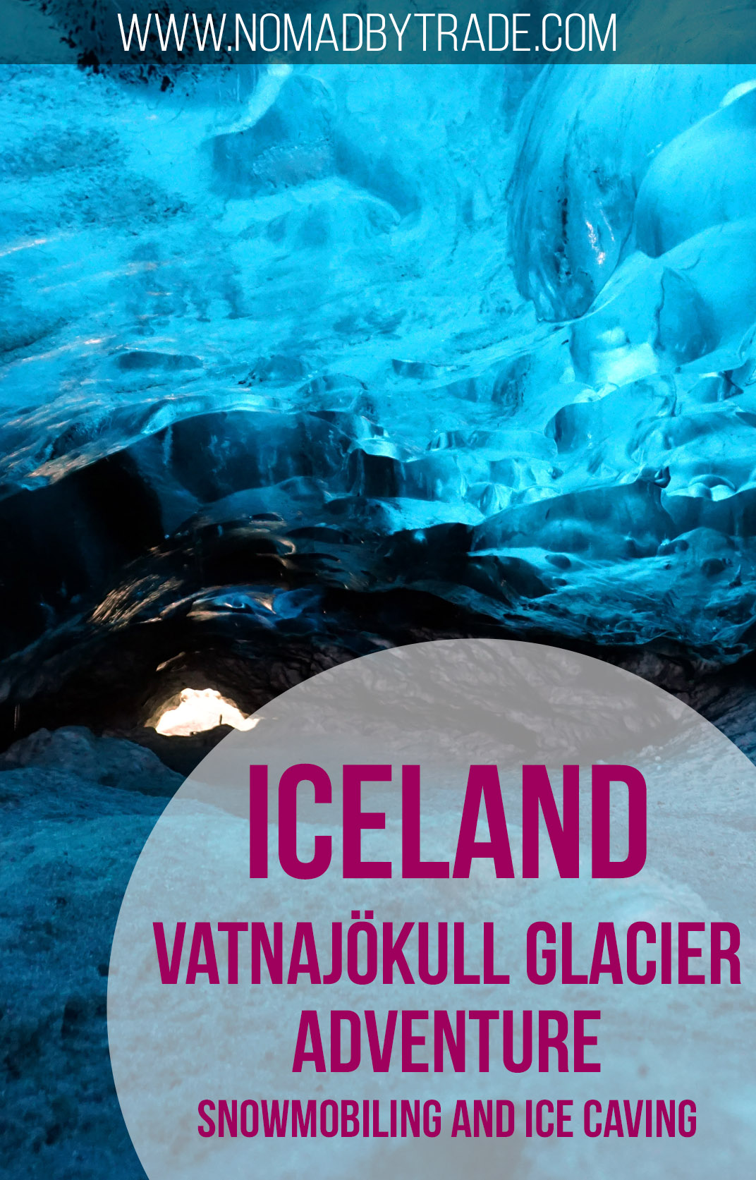 Snowmobiling and ice caving in the Vatnajokull Glacier in southeast Iceland
