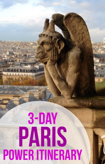 3-Day Itinerary for covering Paris highlights including the Eiffel Tower, Versailles, Notre Dame, Sacre Coeur, the Louvre, Orsay, Sainte Chappelle, and the Arc de Triomphe