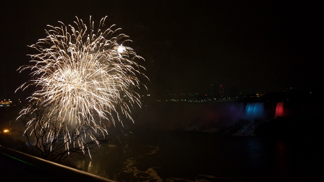 Fireworks display at Niagara Falls