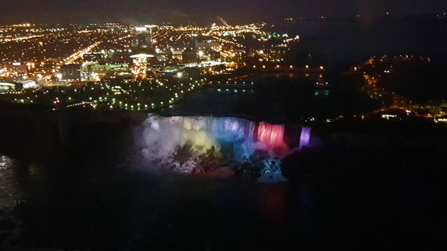 American Falls in Niagara Falls, New York lit up at night