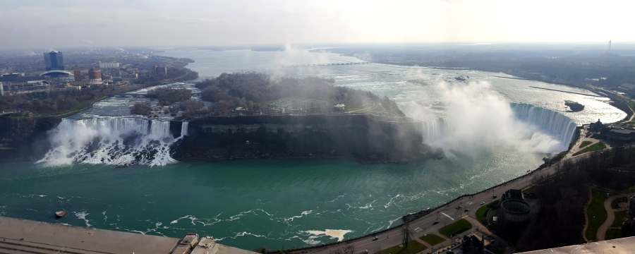 View of Horseshoe Falls and American Falls from the Skylon Tower in Niagara Falls, Canada