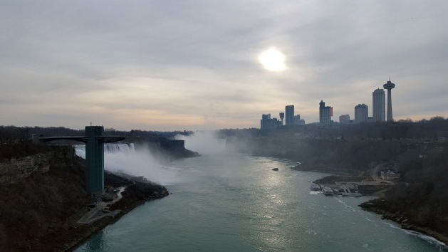 International Boundary Line between the United States and Canada on the Rainbow Bridge in Niagara Falls