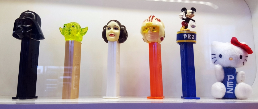 Vintage Pez dispensers at the Pez Visitor Center in Orange, Connecticut