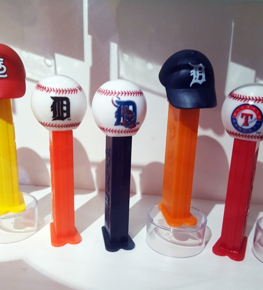Detroit Tigers Pez dispensers displayed at the Pez Visitor Center in Orange, CT