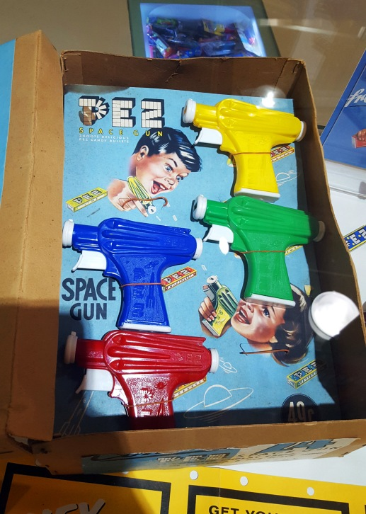 Vintage Pez dispenser guns at the Pez Visitor Center in Orange, Connecticut