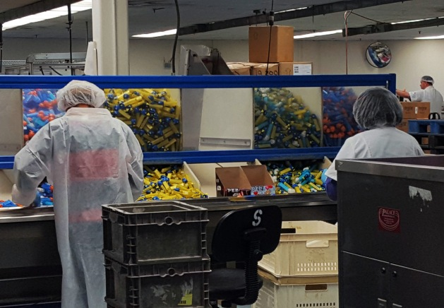Pez dispensers being packaged at the Pez factory in Orange, CT