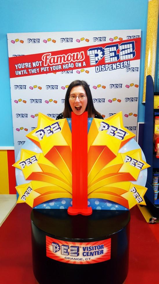 Pez dispenser photo op at the Pez Visitor Center in Orange, Connecticut