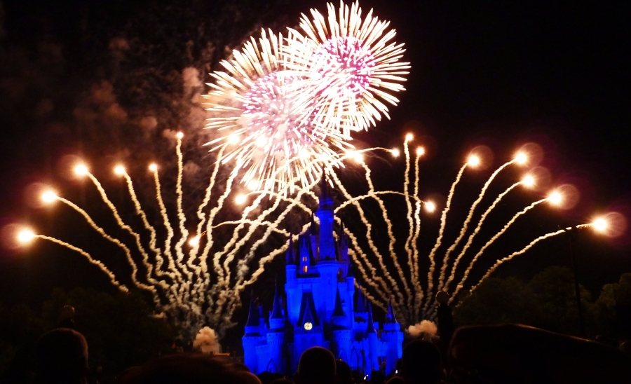 Wishes fireworks spectacular at the Magic Kingdom in Disney World.