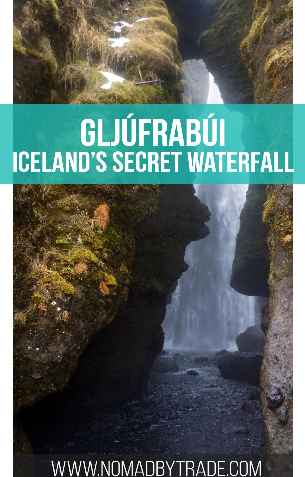 Discover Gljúfrabúi, Iceland's hidden waterfall by wading through a stream or doing some light rock climbing