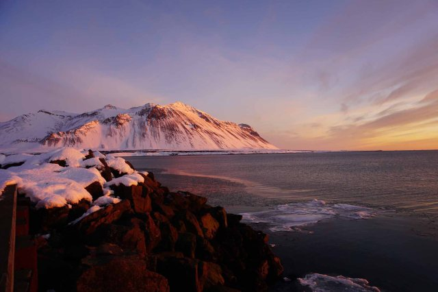 Sunset over the fjords in Borgarnes, Iceland