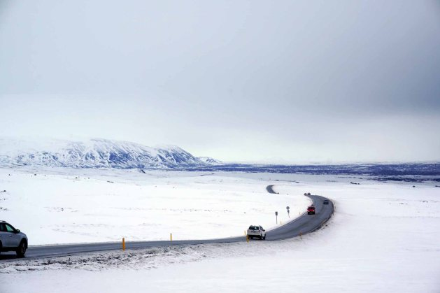 Winding road through the Golden Circle during winter in Iceland