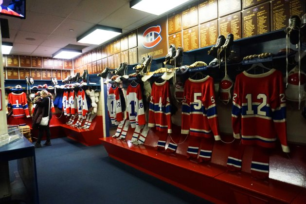 Montreal Canadiens dressing room recreated at the Hockey Hall of Fame in Toronto, Ontario