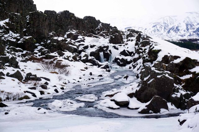 Waterfall in Þingvellir National Park in Iceland, part of the Golden Circle