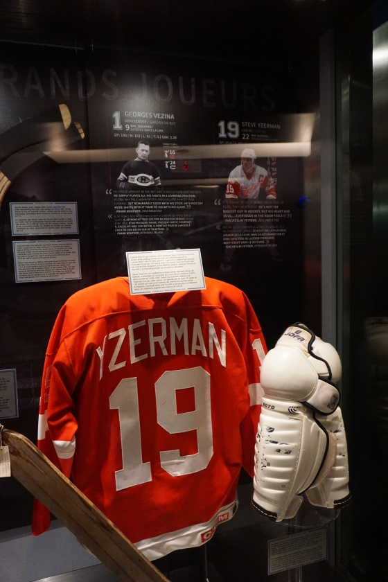 Steve Yzerman jersey on display at the Hockey Hall of Fame in Toronto, Canada