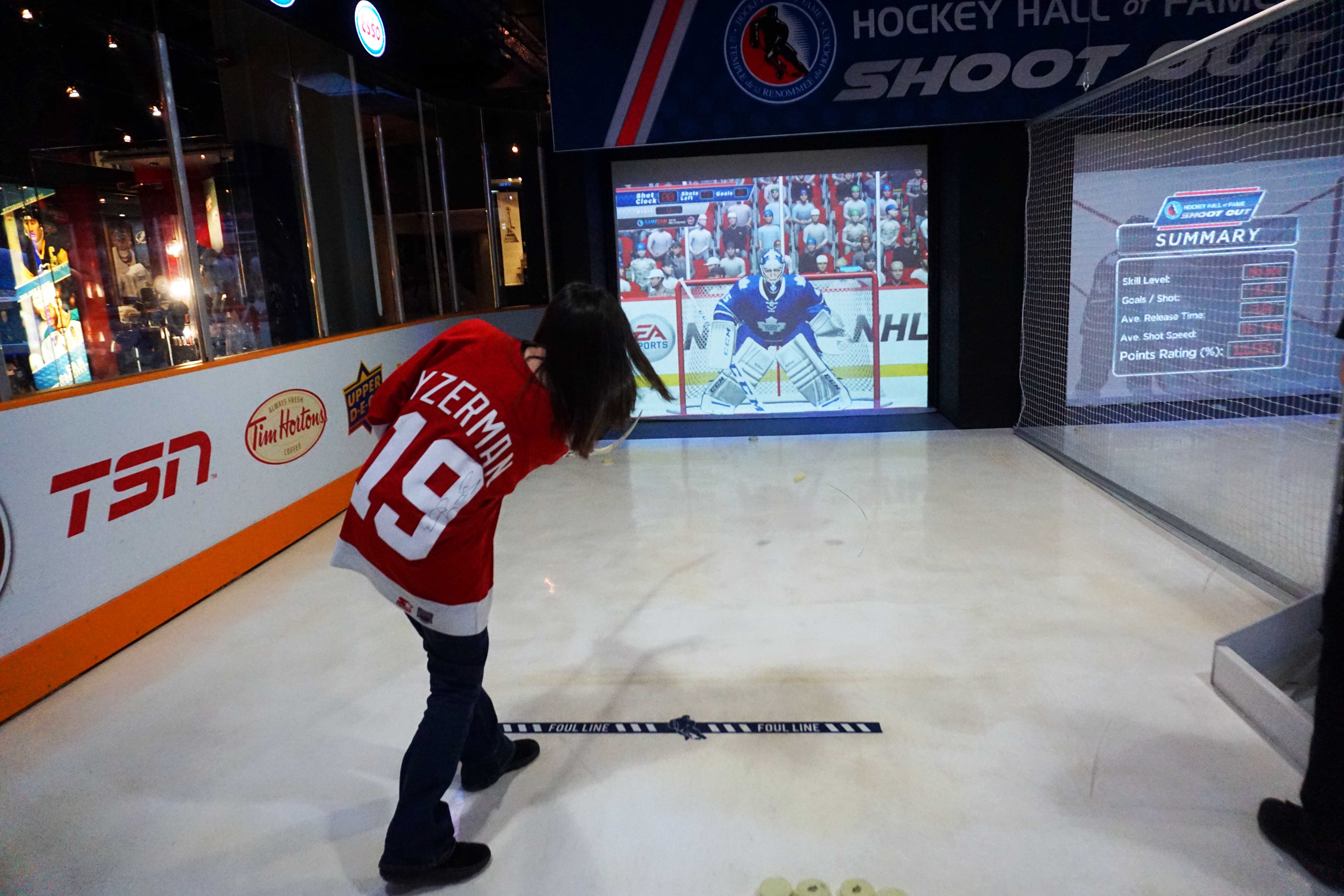 Interactive games at the Hockey Hall of Fame in Toronto, Ontario