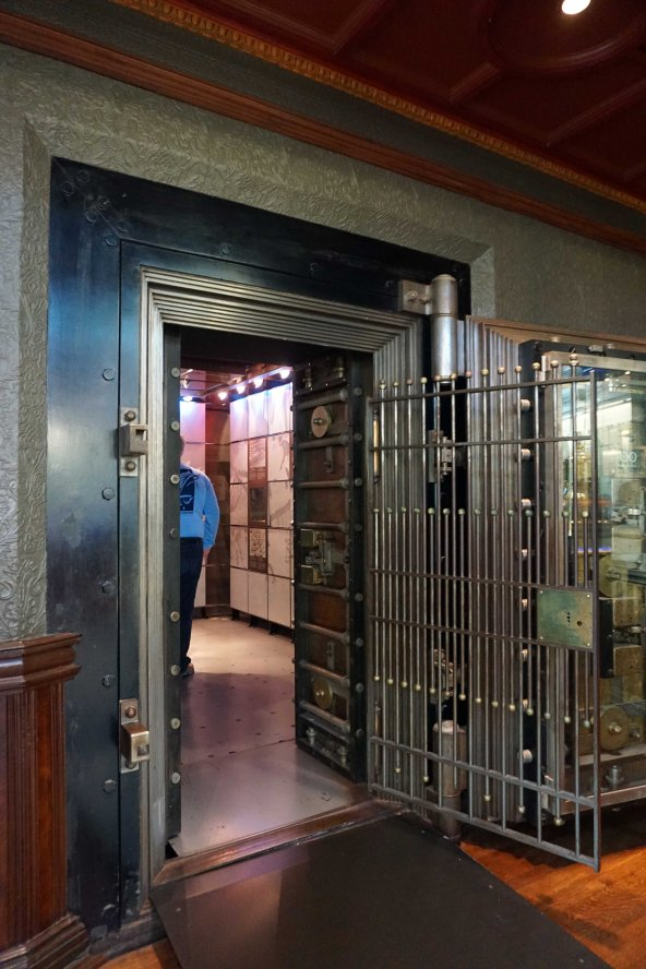 Old bank vault in the Hockey Hall of Fame in Toronto, Ontario