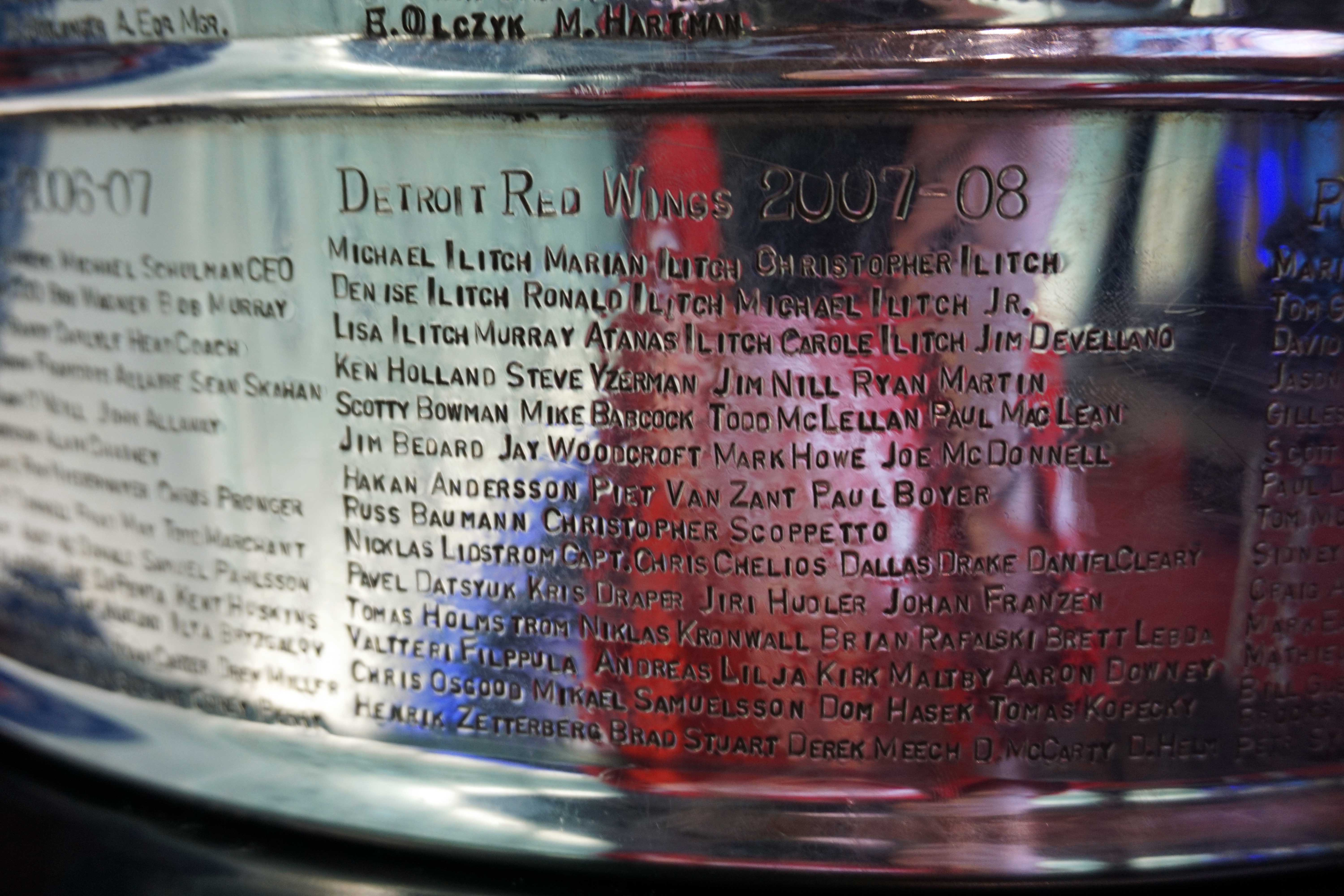 Detroit Red Wings player names engraved on the Stanley Cup 2008