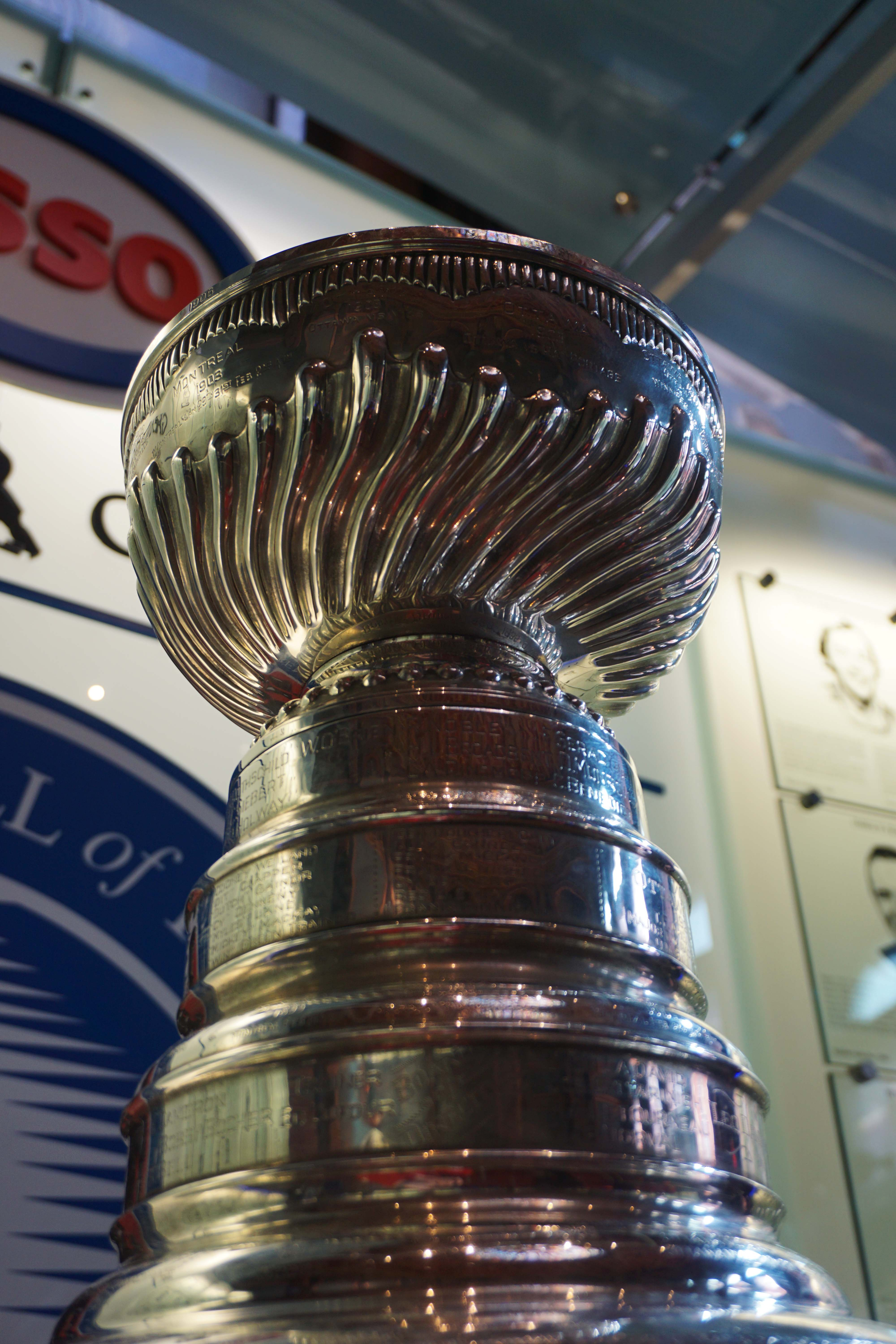 Stanley Cup displayed at the Hockey Hall of Fame in Toronto, Canada