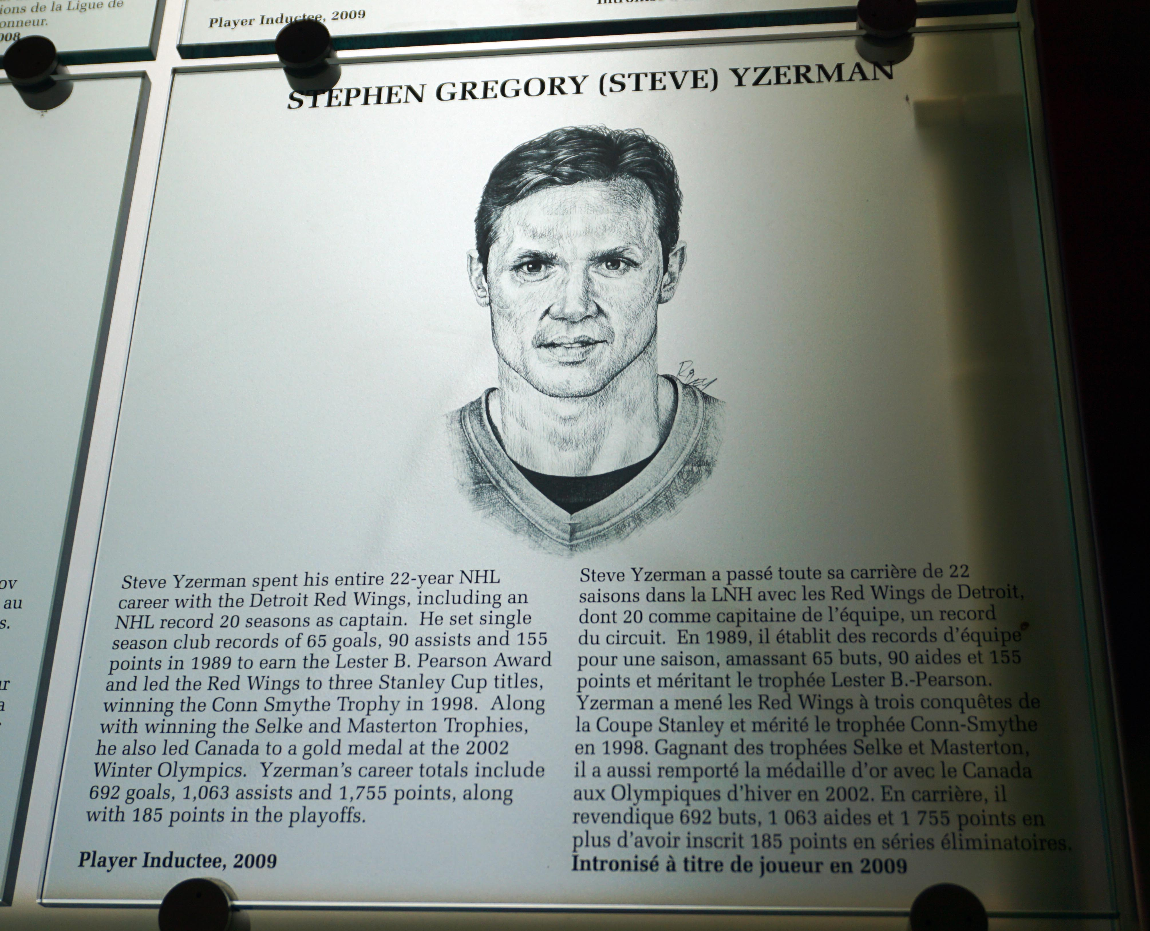 Steve Yzerman's plaque in the Hockey Hall of Fame