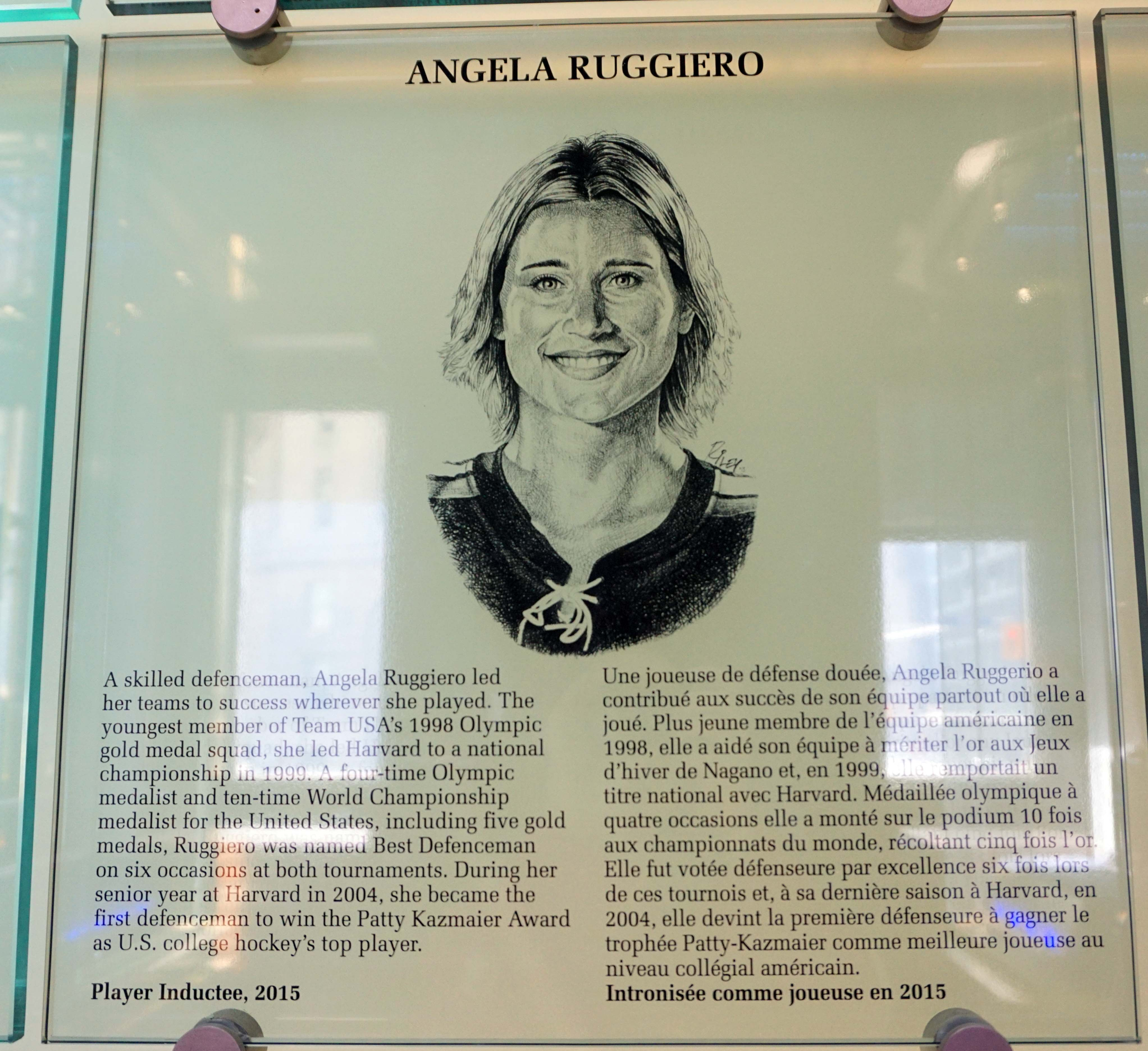 Angela Ruggiero's plaque in the Hockey Hall of Fame