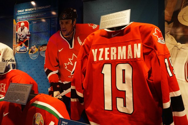 Steve Yzerman Canada jersey in the Hockey Hall of Fame in Toronto, Ontario