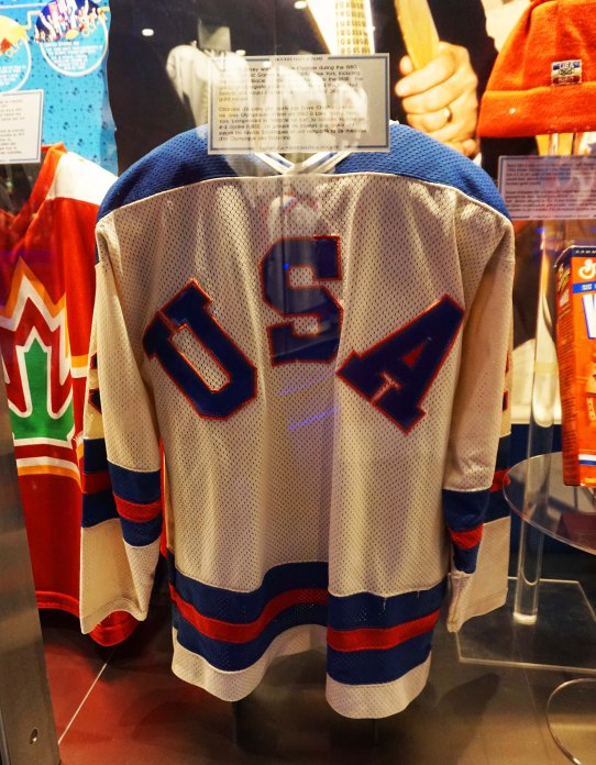 1980 United States Miracle on Ice jersey in the Hockey Hall of Fame in Toronto, Canada