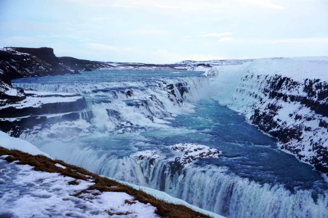 Gullfoss waterfall in Iceland in winter, part of the Golden Circle