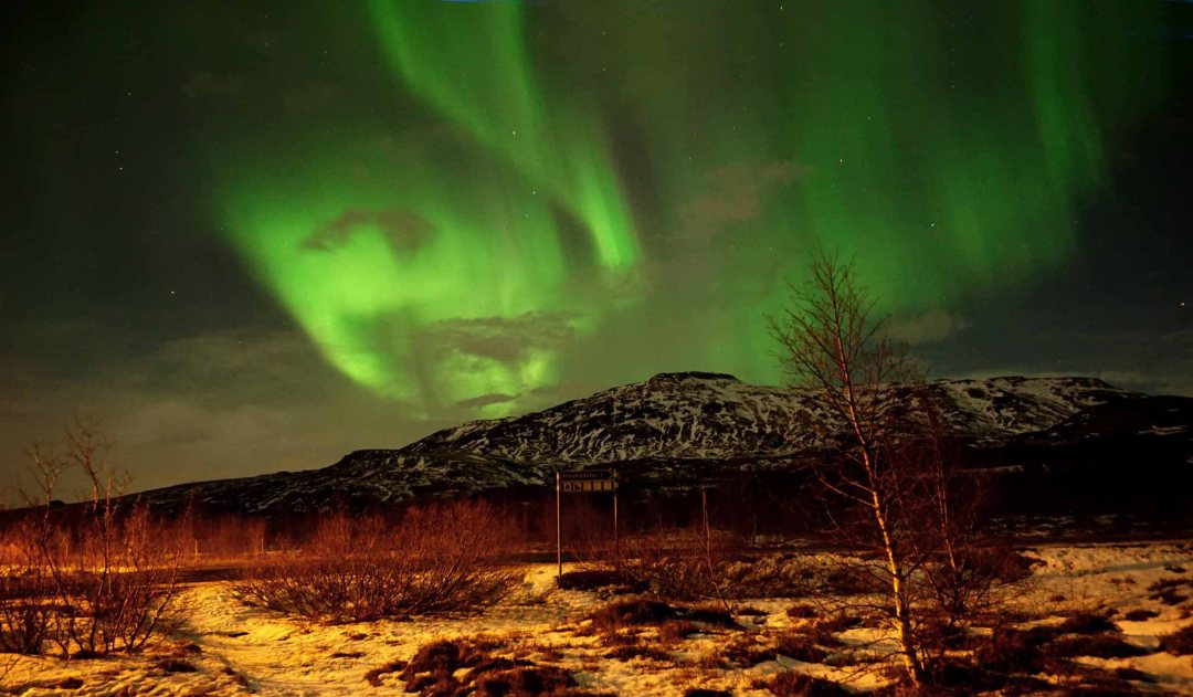Northern lights over the Geysir area in Iceland