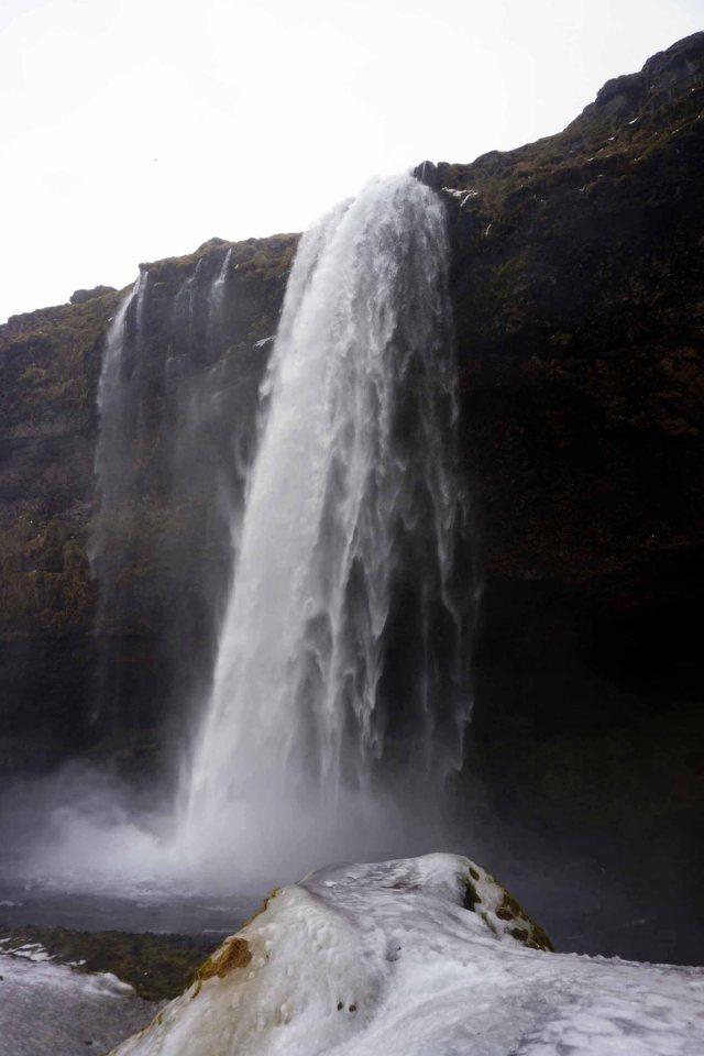 Seljalandsfoss waterfall in Iceland in winter