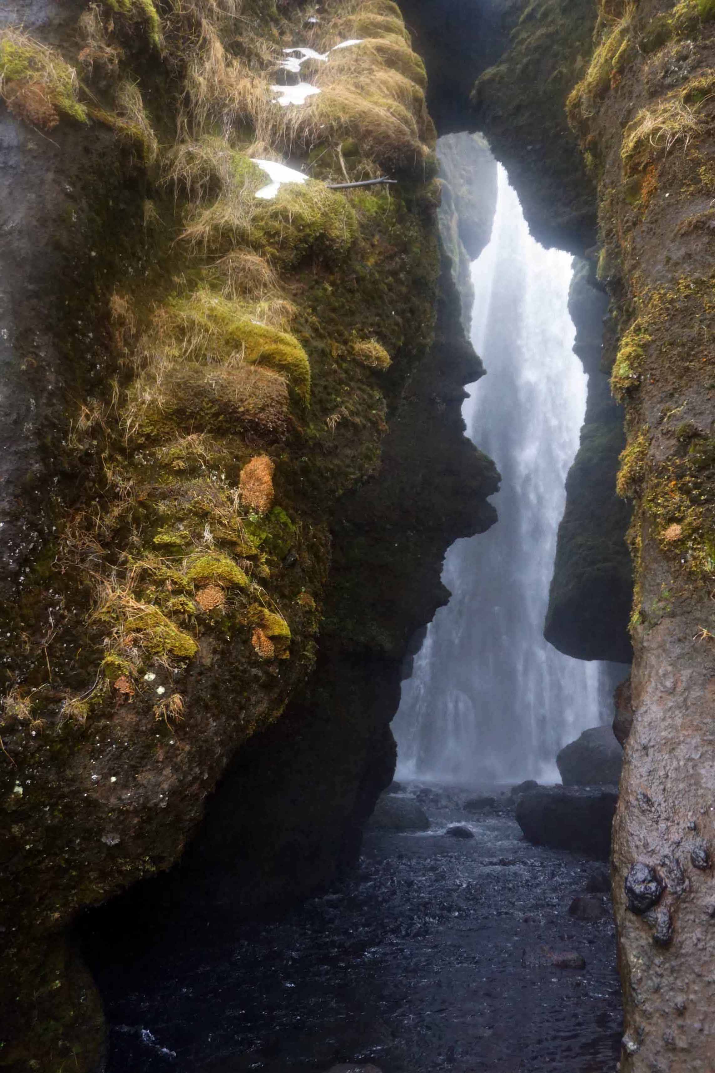 Entrance to the cavern hiding the Gljufrabui waterfall in Iceland