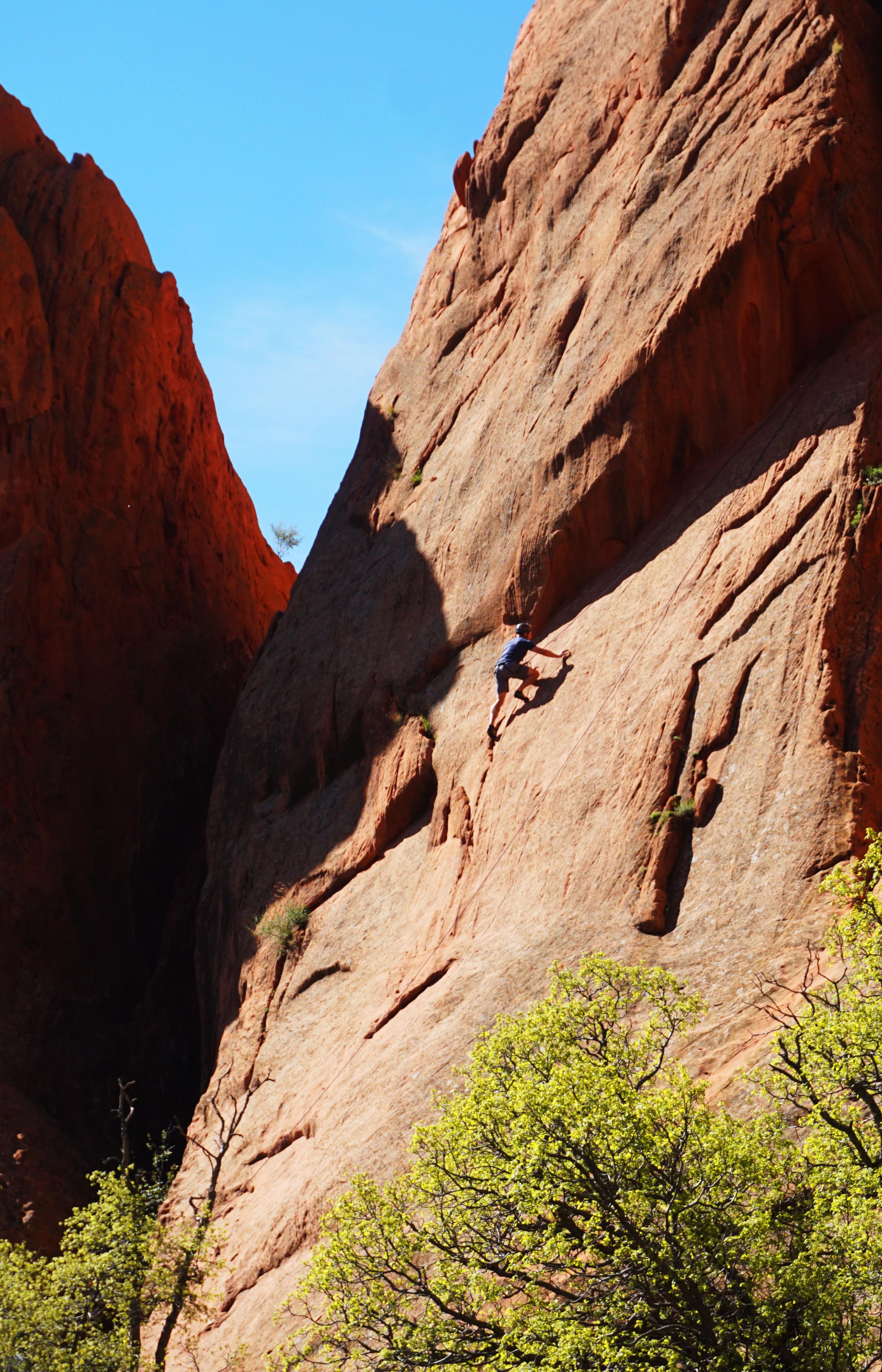 Rock climber in Garden of the Gods in Colorado Springs