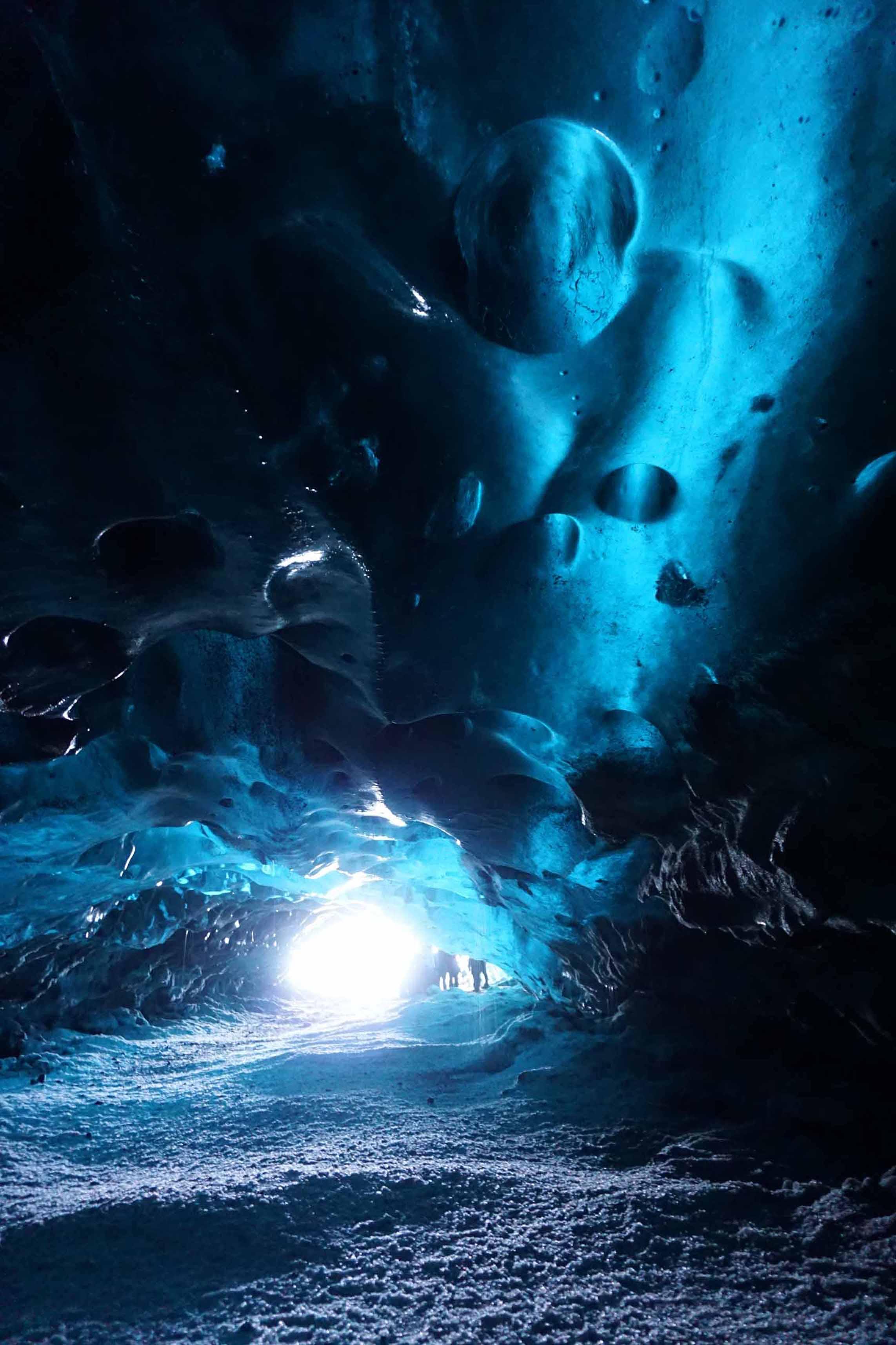Blue ice cave in the Vatnajokull glacier in Iceland