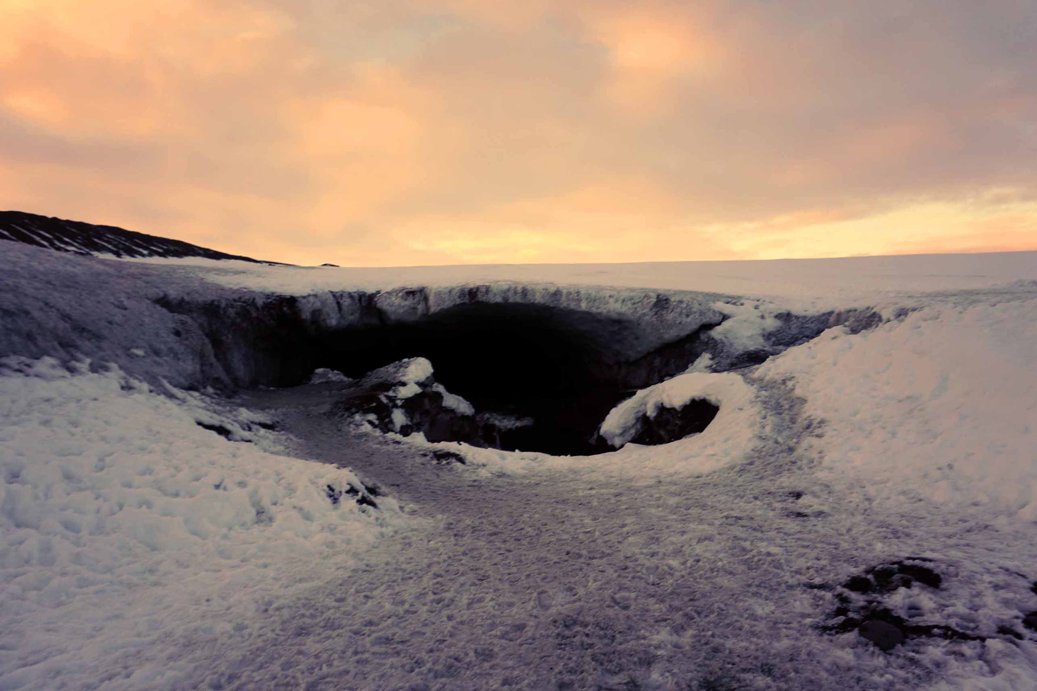 Entrance to an ice cave in the Vatnajokull glacier in Iceland
