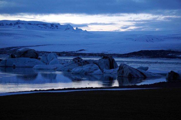 Dusk over Jokulsarlon glacial lagoon in Iceland