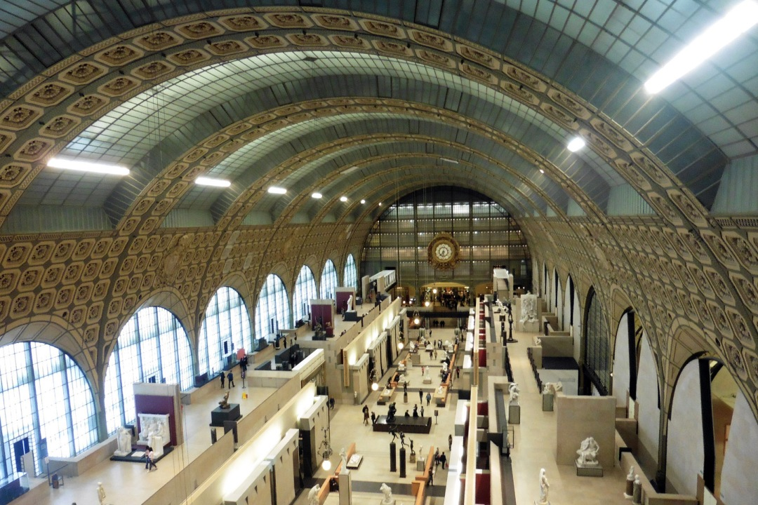 View from atop the gallery in the Musee d'Orsay in Paris, France