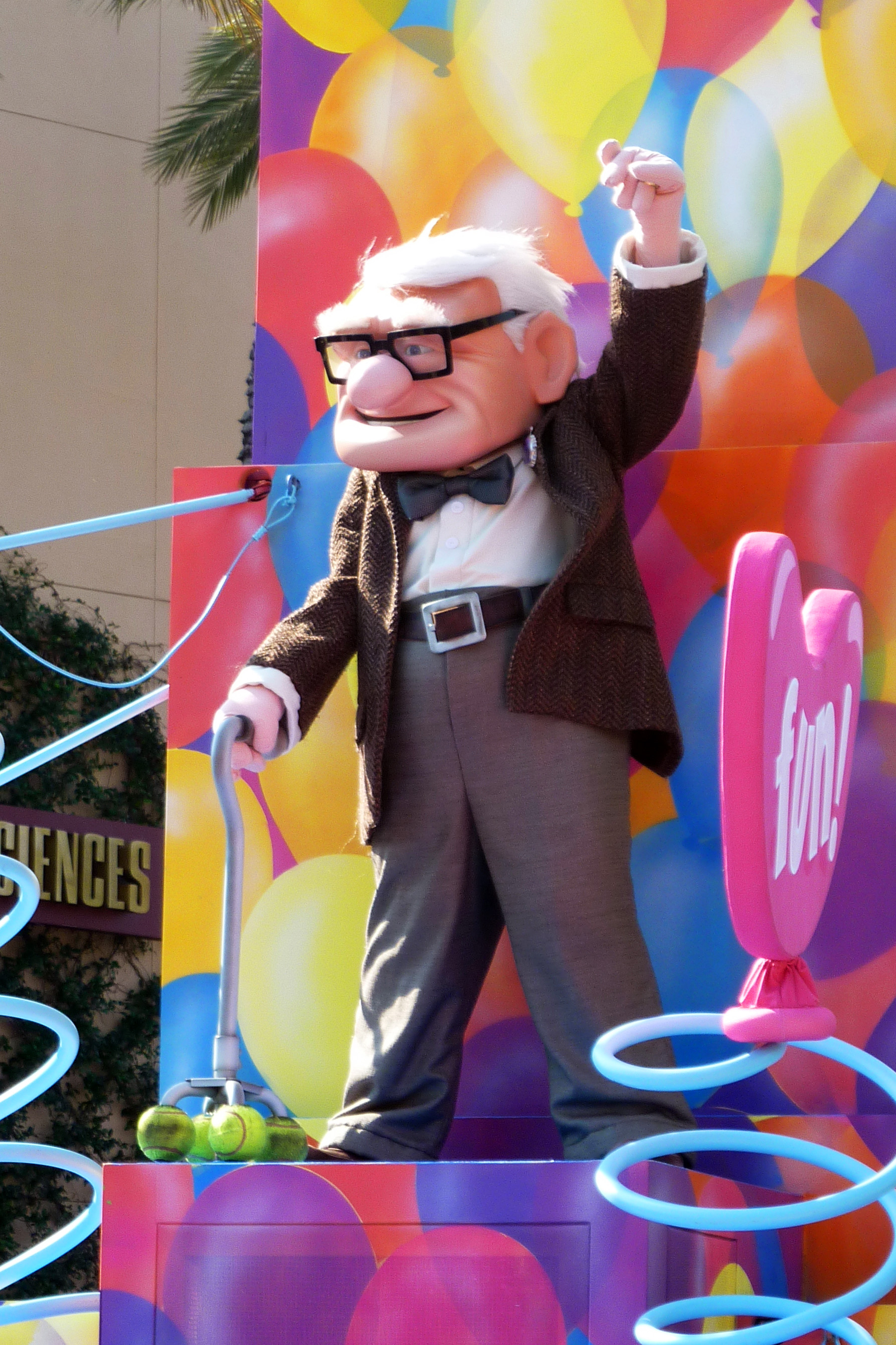Carl from Up in a parade at Hollywood Studios in Walt Disney World Orlando, Florida - advice on packing for Disney